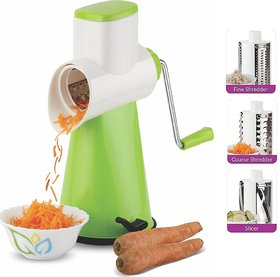Ankur Vegetable Grater Mandoline Slicer, Rotary Drum Fruit Cutter Cheese Shredder with 3 Stainless Steel Rotary Blades