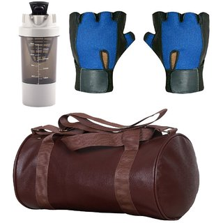 CP Bigbasket Combo Set Leather Soft Gym Bag (Brown), Cyclone Shaker (Grey), Netted Gym  Fitness Gloves (Blue)