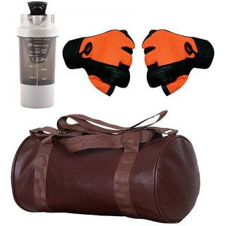 CP Bigbasket Combo Set Leather Soft Gym Bag (Brown), Cyclone Shaker (Grey), Netted Gym  Fitness Gloves (Orange)
