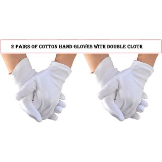 White Cotton Hand Gloves with Double Cloth Multipurpose Glove , Set of 2 Pairs