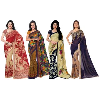 Triveni Womens Red , Brown , Beige and Blue colou Faux Georgette Casual wear sarees combo of 4
