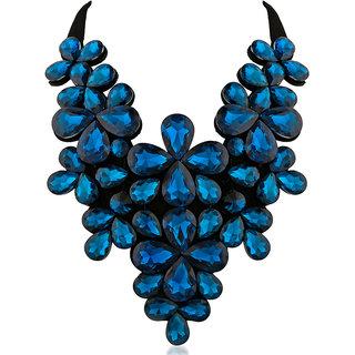 JewelMaze Blue Crystal Stone Black Ribbon Necklace -1111226E