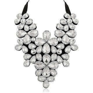 JewelMaze White Crystal Stone Black Ribbon Necklace - 1111226F