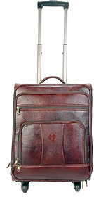 JL Collections 22 Inches Brown Leather Trolley Bag