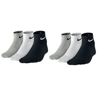 Set of 6 pairs N logo Sports ankle length cotton towel socks
