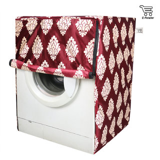 E-Retailer Classic Maroon Flower Design Front Loading Washing Machine Cover  (Suitable for 5 KG to 8 KG Capacity)