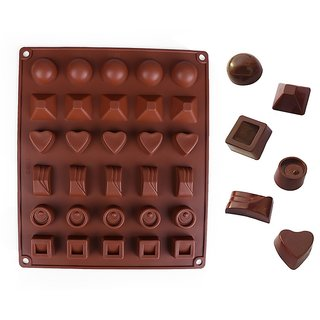 Bakers U Silicone Chocolate Shape Mould Jelly Ice Candy Chocolate Cake Icing Green 30 in 1 (5 shapes) random color