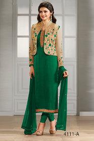 The Woman Tax Feb Prachi 4111 Green Cream Coti Sartin Georgette for Girls/Woman