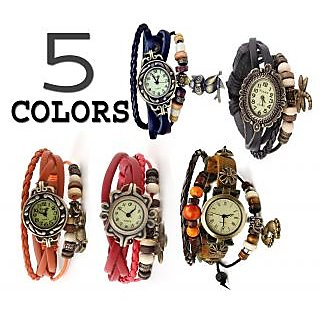 5 Color Leather  Women Bracelet Watch Combo