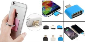 Combo of OTG Adopter  360 Ring Mobile Holder (Assorted Colors)