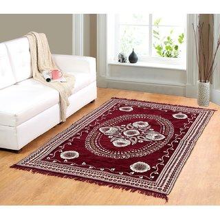 Valtellina Maroon chenille carpet (85 inch X 55 inch) CNT-01