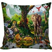 B7 CREATIONS Digital Print Grace of Wild Life Velvet Cushion Cover 1 Pcs - 16x16/40x40 cm