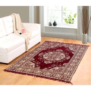 Valtellina Maroon chenille carpet (85 inch X 55 inch) CNT-04