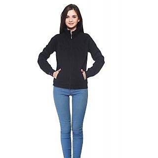 Vvoguish Black Fleece Solid Jacket For Women
