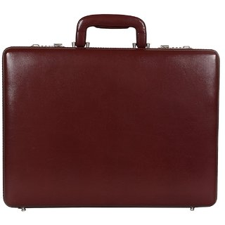 C Comfort Faux Leather Briefcase Brown-EL556BR