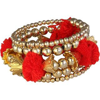 JewelMaze Gold Plated Red Thread Bracelet