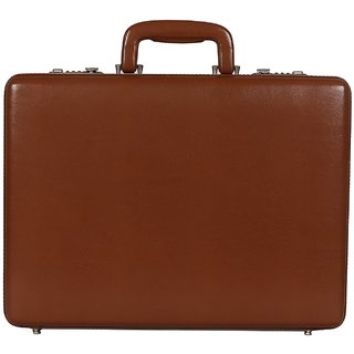 C Comfort Faux Leather Briefcase Tan-EL557TN