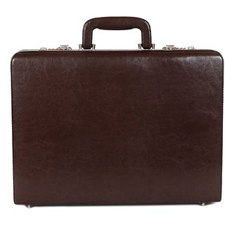 C Comfort Faux Leather Briefcase Brown-EL562BR