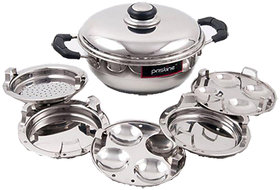 PRISTINE Induction Compatible Sandwich Base Mini Multi Purpose Kadai,with plates