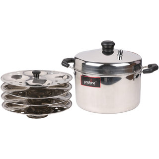 Pristine Induction Compatible Stainless Steel Idli Cooker, 4 Plates, Silver Steamers   Idli Makers