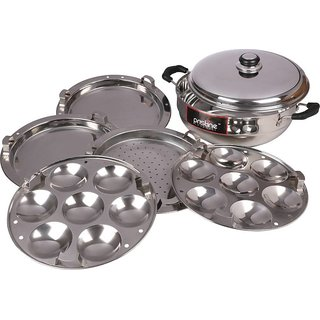 PRISTINE Sandwich Base Multi Kadai, 27 cm/4.750 Liters with 5 Plates Gift Box