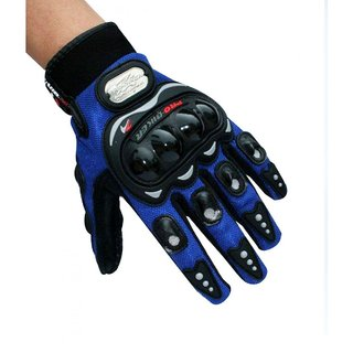 Blue Pro-Biker Riding Gloves for Winter