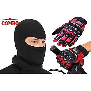 Combo Red Pro-Biker Gloves + Face Mask for Winter