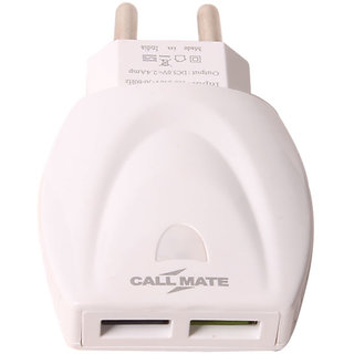 Callmate Dual USB 2.4Amp Fast Chager - White