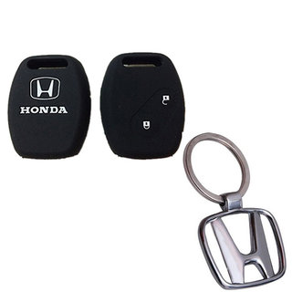 CP BIGBASKET Silicone Remote Key Cover For Honda City / Civic / Jazz / Mobileo / Amaze / Crv / Brio Pack of two(2) With 1 key Chain