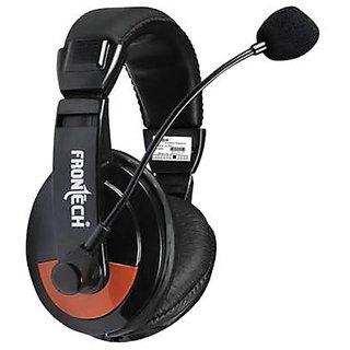 Frontech Jil 3442 Headset With Mic  Black  Headphones   Earphones