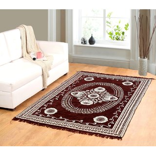 Welhouse India Brown chenille carpet (85 inch X 55 inch) CNT-03