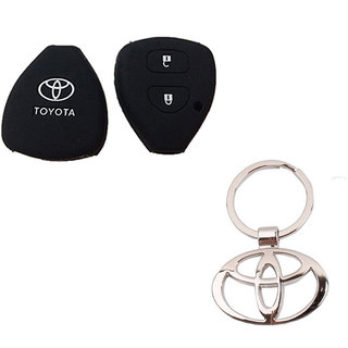 CP BIGBASKET Silicone Key Cover For Toyota Innova / Fortuner /Corolla With 2 Button Remote Key Pack of two(2) With 1 key Chain