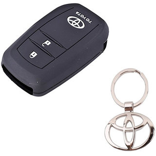 CP BIGBASKET Silicone Key Cover For Toyota Innova Crysta 2016 (For Push Button Smart Key Only) Pack of two(2) With 1 key Chain
