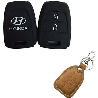 CP BIGBASKET Silicone Key Cover For Hyundai Grand I10 2 Button Remote Key Pack of two(2) With 1 key Chain