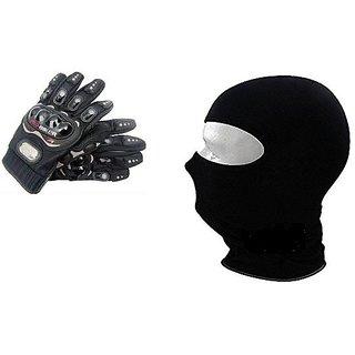 Combo Black Pro-Biker Gloves + Face Mask for Winter
