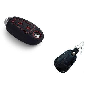 CP BIGBASKET Silicone key cover fit for Suzuki Vitara Brezza / Baleno / S Cross / Ciaz / Swift smart key With 1 key Chain