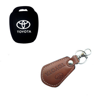CP BIGBASKET Silicone Key Cover For Toyota Innova Crysta 2016 (For Push Button Smart Key Only) With 1 key Chain
