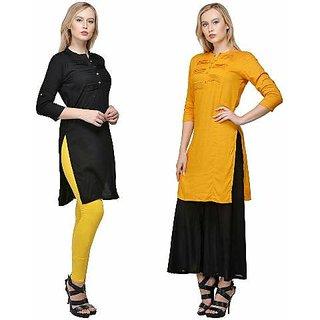 Raabta Black and M Yellow Rayon Kurta Set of Two Combo