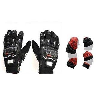 Combo Black Pro-biker Gloves+Buff Headwear for Winter