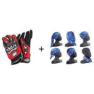 14%off Combo Red Pro-biker Gloves+Buff Headwear for Winter d7c0344e5284