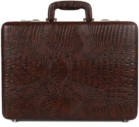 C Comfort Faux Leather Briefcase Brown-EL568BR