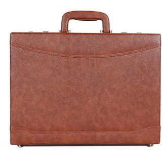 C Comfort Faux Leather Briefcase Tan-EL566TN