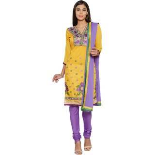 Florence Yellow  Purple Chanderi Cotton Embroidered Dress Material (SB-3369) (Unstitched)