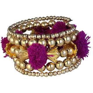 JewelMaze Gold Plated Purple Thread Bracelet