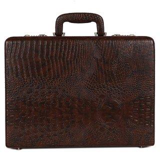 C Comfort Faux Leather Briefcase Brown-EL571BR