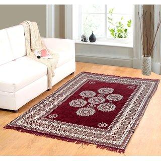 Welhouse India Maroon chenille carpet (85 inch X 55 inch) CNT-07