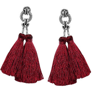 Meia Rhodium Plated Maroon Thread Tassel Earrings