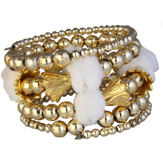 JewelMaze Gold Plated White Thread Bracelet