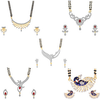 Aabhu Stylish Combo of 5 Mangalsutra with Chain and Earrings Jewellery Set for Women