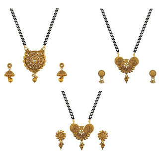 Aabhu Popular Combo of 3 Mangalsutra with Chain and Earrings Jewellery Set for Women